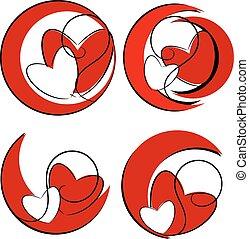 coeur, rouges, illustration