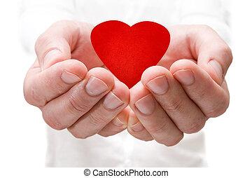 coeur, rouges, tenant mains