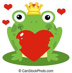 coeur, rouges, tenue, prince grenouille
