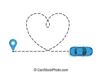 coeur, routes., amour, route., trace, voiture, isolé, illustration, voyage, sentier, a tiret, vecteur, pointillé, véhicule, hearted, ligne, valentin, dessin, jour, romantique
