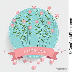 coeur, ruban, note, vecteur, papier, floral, illust, bouquets