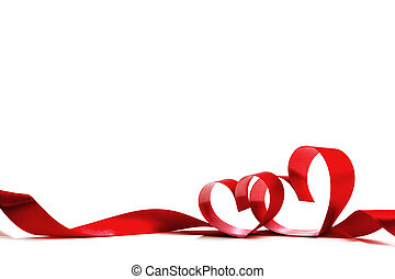 coeur, ruban rouge, arc