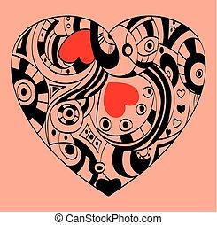 coeur, rue., symbole, valentines, -, jour