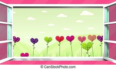 coeur, séquence, feliz, dia, couleurs, espagnol, rose, différent, card., la, -, madre, champ, fenêtre, animation, blanc, ouvre, heureux, de, text., forme, arrière-plan., fleurs, jour, langue, mère, intérieur, espace, salutation, 2d, endroit, 3d