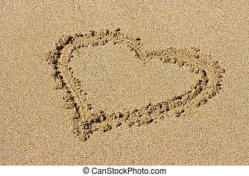 coeur, sable, dessiné