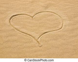coeur, sable, jour ensoleillé