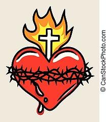coeur, sacré, illustration, jésus