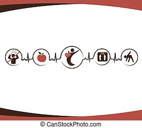 coeur sain, et, style de vie, symboles