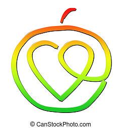 coeur sain, intérieur, pomme