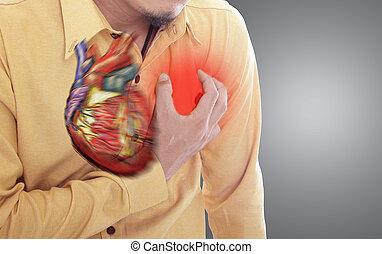coeur, saisir, attaque, main, poitrine
