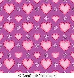 coeur, seamless, bonimenter, flocon de neige