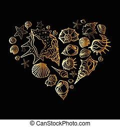 coeur, seashells.