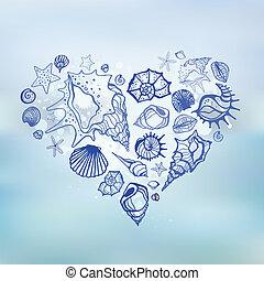 coeur, shells., holidays., mer, été