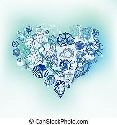 coeur, shells., mer