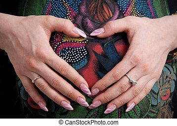 coeur, sien, formulaire, elle, pregnant, bras pliés, ventre, girl, aimer