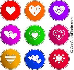 coeur, signe, icônes