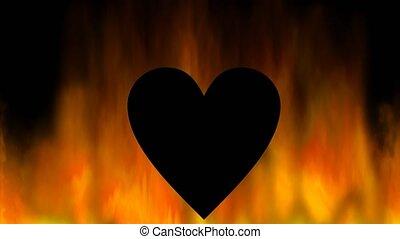coeur, silhouette, brûlé, coeur, résumé, flammes, arrière-plan noir, vidéo