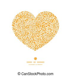 coeur, silhouette, dentelle, doré, modèle, cadre, roses, vecteur