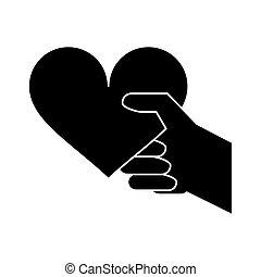 coeur, silhouette, romantique, valentines, main, jour, rouges