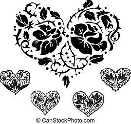 coeur, silhouettes, 5, orné