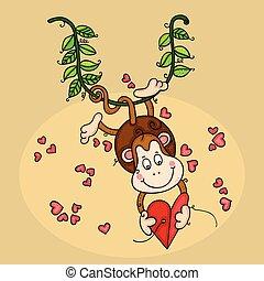 coeur, singe, branche, pendre, tenue, heureux