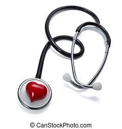 coeur, soin, outillage, santé, médecine, stéthoscope