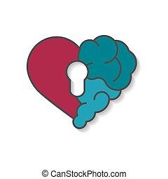 coeur, solitude, serrure, moderne, cerveau, logo, design., pensée, divorce, rationnel, entre, plat, cassé, clã©, émotions, salle, icône, interaction, âme, intelligence, security., vecteur, émotif, relation