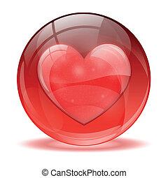 coeur, sphère, icône, 3d, verre