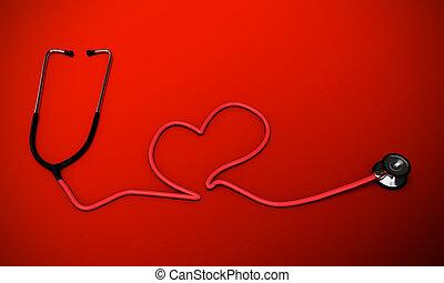 coeur, stéthoscope, formé