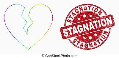 coeur, stagnation, grunge, timbre, cassé, clair, vecteur, cachet, pixel, icône