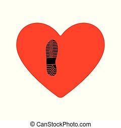 coeur, style, chaussures, plat, hommes, s, noir, impression, rouges