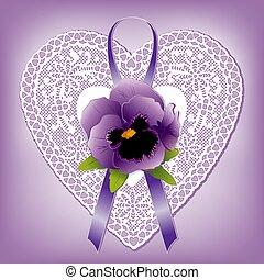 coeur, style, dentelle, cadeau, ornement, victorien, pensée, violet, napperon, ruban