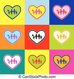 coeur, style, ensemble, coloré, famille, icônes, forme., illustration, signe, 3, colors., vector., pop-art
