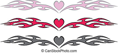coeur, style, flammes, tatouage