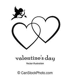 coeur, style, illustration., ange, arrière-plan., vecteur, noir, blanc, icône