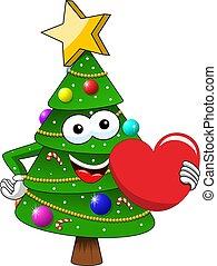 coeur, style, ou, amour, toile, symbole, caractère, isolé, illustration, noël, mascotte, vecteur, blanc, noël heureux, dessin animé, stockage