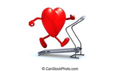 coeur, sur, a, marche, machine