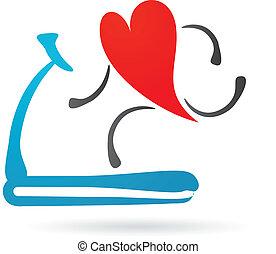 coeur, sur, a, tapis roulant