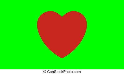 coeur, sur, battement, green-screen