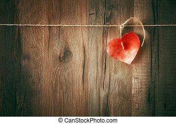 coeur, sur, bois, fond