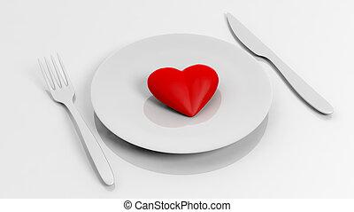 coeur, sur, plaque, à, fourchette, et, couteau, isolé,...