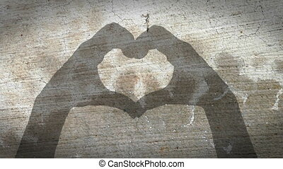 coeur, symb, mains, silhouette, vendange