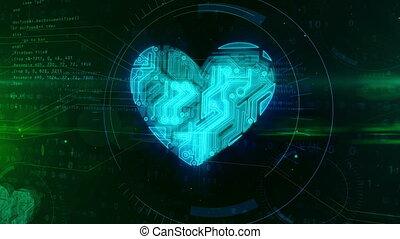 coeur, symbole, animation, numérique