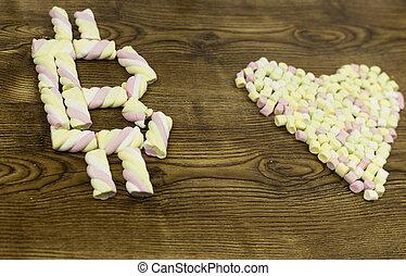 coeur, symbole, au-dessous, dessiné, vue, marshmallows.