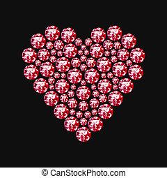 coeur, symbole, diamant