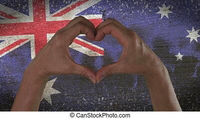 coeur, symbole, drapeau australien, mains