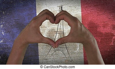 coeur, symbole, drapeau, francais, mains