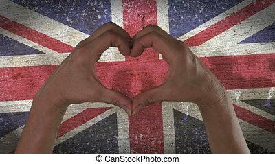 coeur, symbole, drapeau, royaume-uni, mains