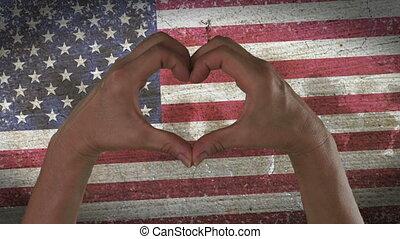 coeur, symbole, drapeau, usa, mains