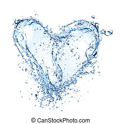 coeur, symbole, fait, de, eau, eclabousse, isolé, blanc, fond